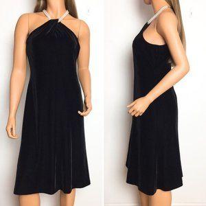 Evan Picone Black Velvet Pearl Halter Dress Petite